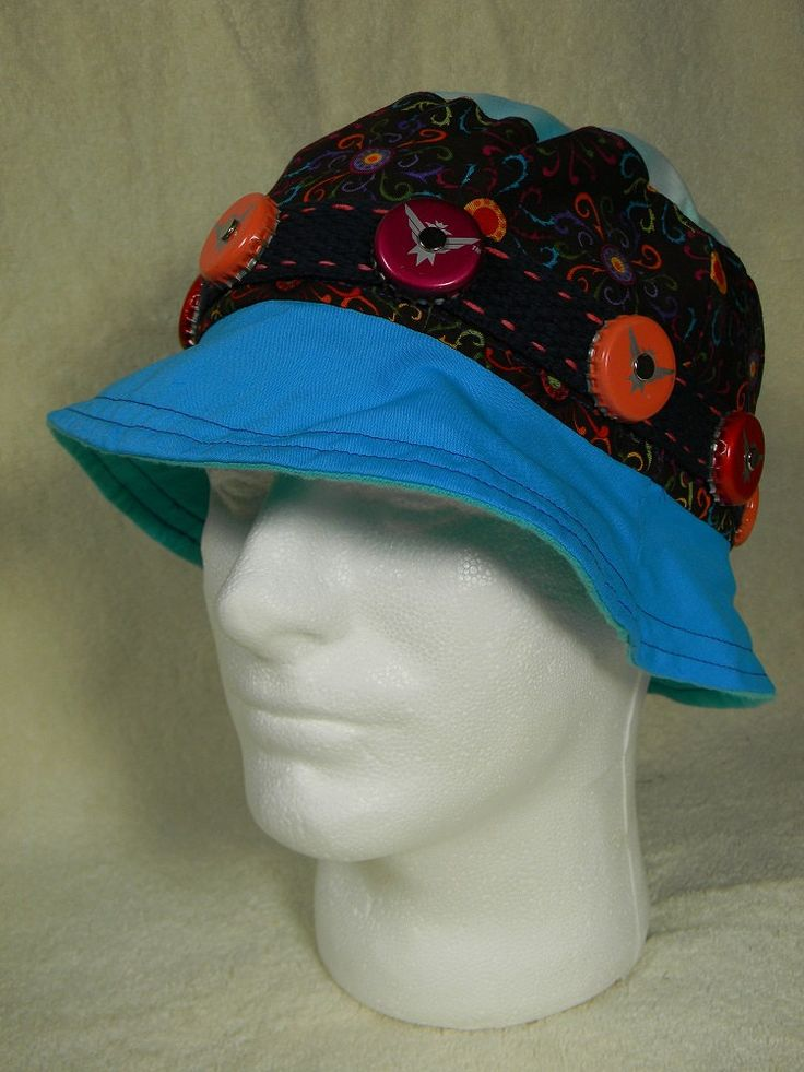 Bucket Hat w/ Smirnoff Ice Beer Bottle Caps Hatband Teal Blue Brown Colorful Sunburst Pattern One Size Fits Most by AlisasArtEveryday on Etsy
