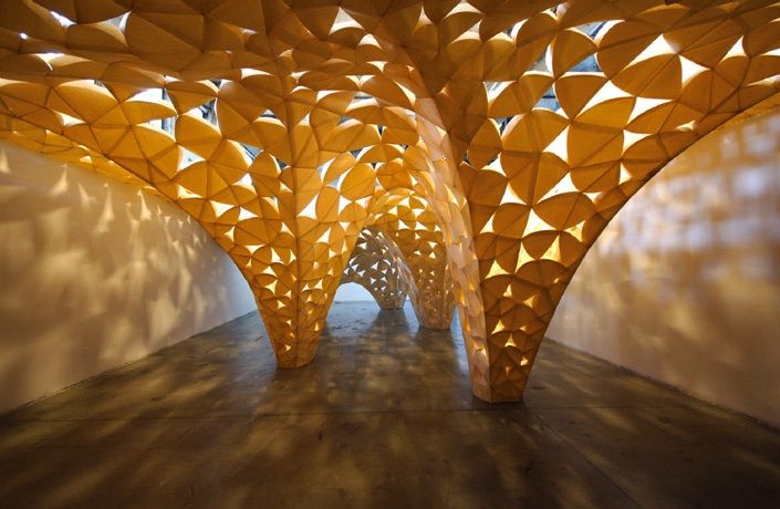 """""""Voussoir Cloud"""": This architectural installation uses paper-thin wood laminate """"petals"""" to form the classical vault form 