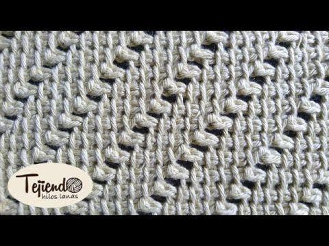 Punto tejido en la técnica del punto tunecino - YouTube