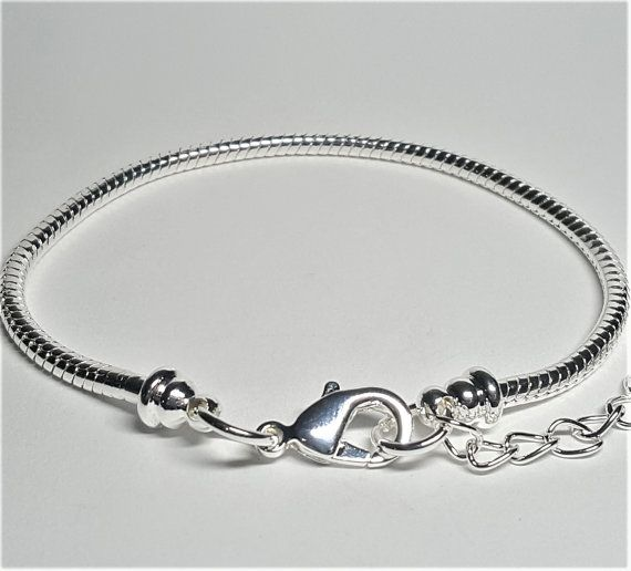 Silver European Bracelet with Extender Chain 16cm 23cm