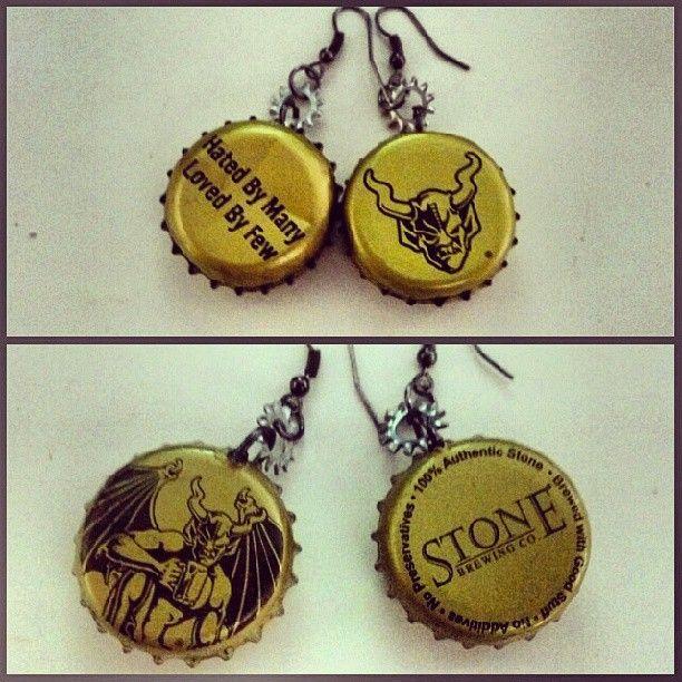 Stone Beer bottlecap earrings