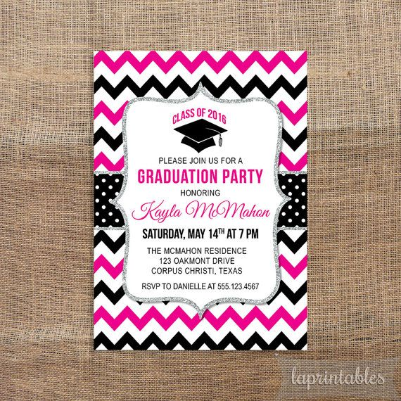 Graduation Party Printable Invitation Hot Pink & by laprintables