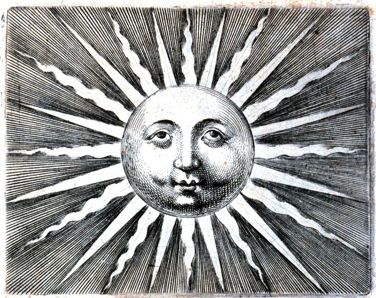 Fornsetti-esque face of sun, engraving, via NOAA. Scan of 2 d images in the public domain believed to be free to use without restriction in the US.