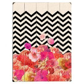 """Showcasing a collage-inspired design with chevron and floral motifs, this eye-catching wood wall decor brings a pop of pattern to your living room or den.  Product: Wall decorConstruction Material: WoodFeatures: Ready to hangDimensions: 16"""" H x 12"""" W"""