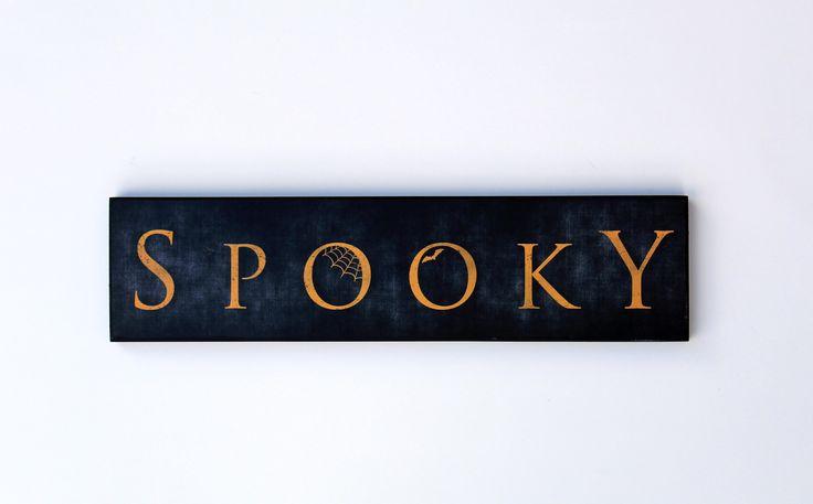 """""""Spooky"""" Orange Tabletop Halloween Sign"""