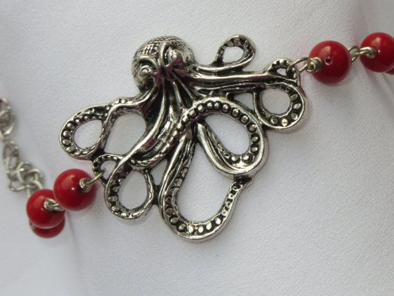 Red Bamboo Coral Beads with Silver Octopus Kraken by Thielen, $21.95