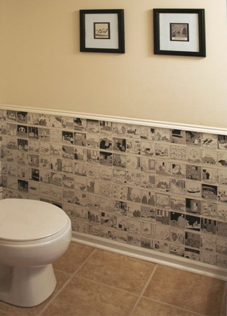 I have seen old newspapers and sheet music used as wallpaper for walls, but I love this idea for using Far Side calendars as wallpaper. Not ...