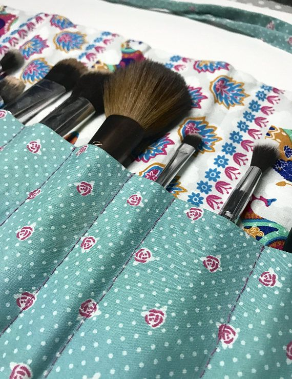 Handmade Elephant/Blue Rose Print Makeup Brush
