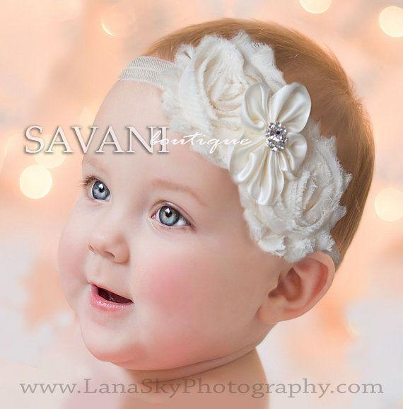 Baby headband, ivory headband,newborn headband, vintage headband, shabby chic headband, headbands,photo prop headbands,infant headband on Etsy, $8.99