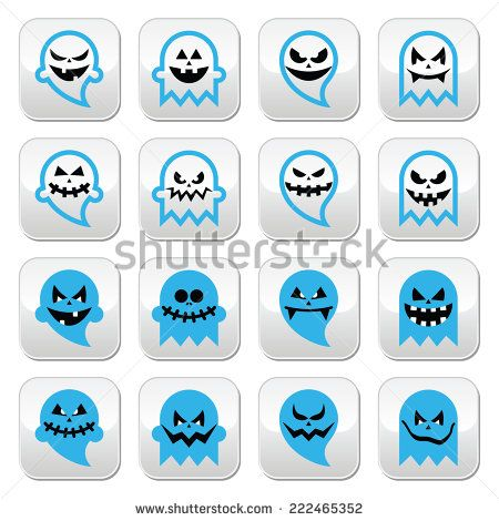 Halloween, graveyard buttons set with ghost by RedKoala