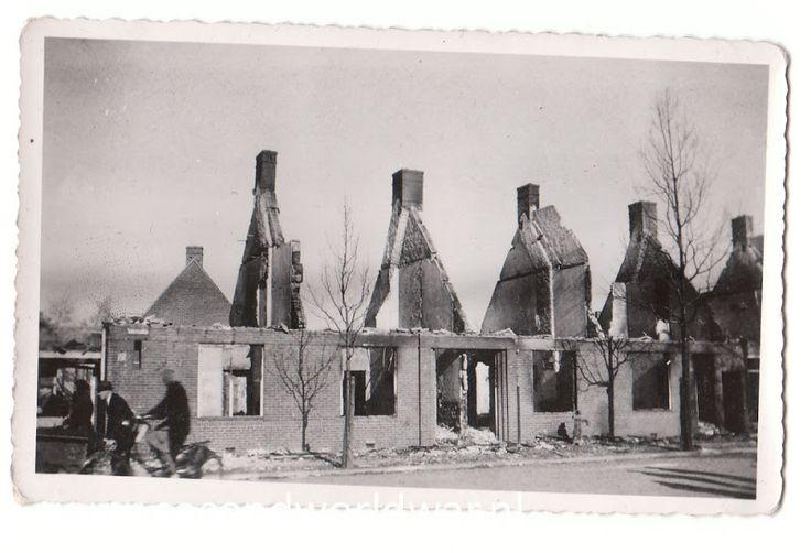 Usselerweg na het bombardement van 22 februari 1944 op Enschede.