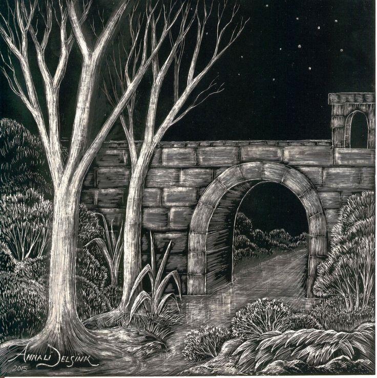'Corrie's lost stone portal'. Scraperboard, Annali Delsink.