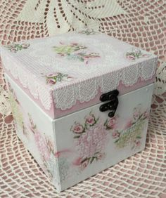 """Hand Painted Box Cottage Chic Pink Roses Hydrangeas Shabby Lace 6"""" x 6"""" HP"""