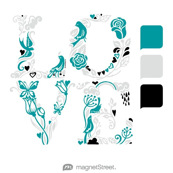 Teal, Silver, Black, and White Wedding Color Palette