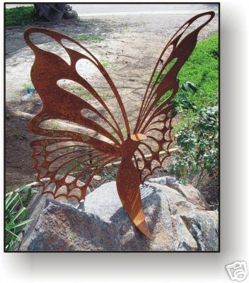 Butterfly 24 metal art sculpture garden decor metal for Daylight designs metal garden art