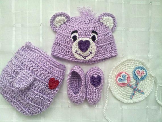 Crochet Purple Care Bear Costume Share Bear by BlackberryCrochet, $34.99