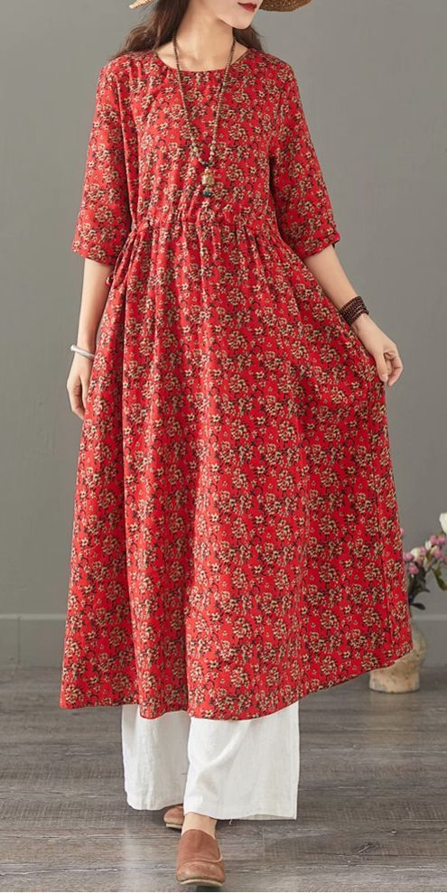 Vintage Floral Cotton Linen Maxi Dresses Women Loose Clothes 1399