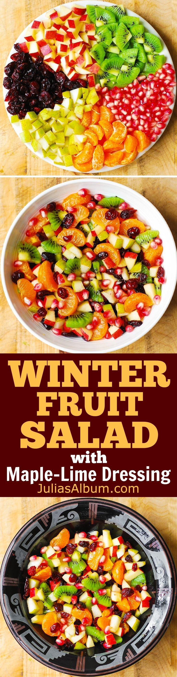 Winter Fruit Salad with Maple-Lime Dressing - perfect Thanksgiving or Christmas Holiday Salad!
