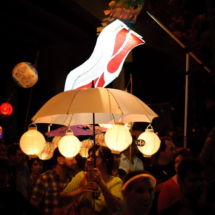 Creative lights and a Bacon Lantern light up the night during the Beltline Lantern Parade 2012.