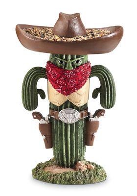 Western Cactus Bandit Whimsical Garden Birdfeeder