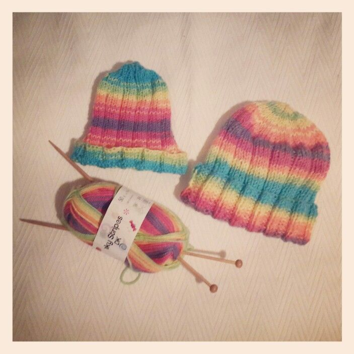 Small kiddie beanie and kiddie beanie for our Beanie Drive 2014  this rainbow-coloured wool