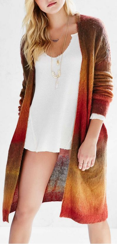 ombre long cardigan