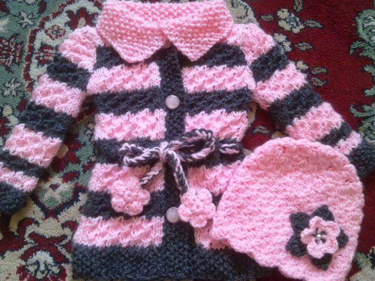 Hainute copii tricotate si crosetate la comanda: Pulover si caciulita