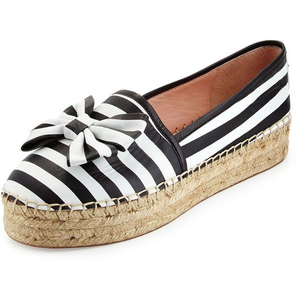 kate spade new york linds striped bow espadrille flat ($155) ❤ liked on Polyvore featuring shoes, flats, round toe flats, black and white flats, black and white shoes, espadrilles shoes y espadrille flats