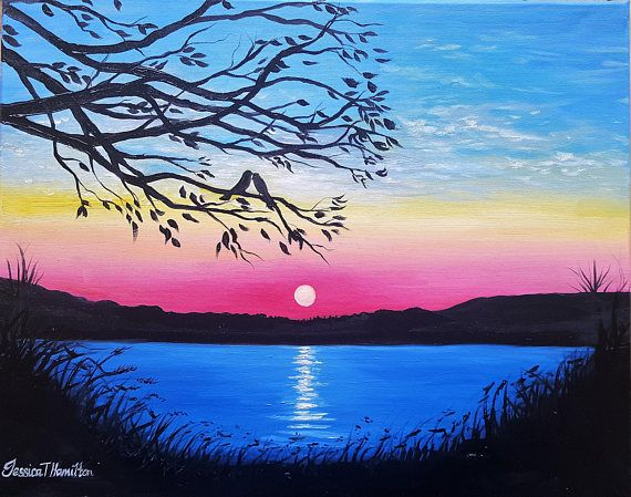 Love Birds By The Water Oil Landscape Canvas Painting Love Romantic Landscape Art Canvas Painting Landscape Landscape Canvas Art Painting