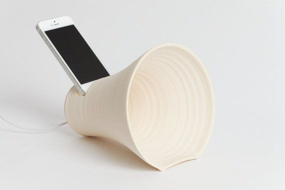 Ready to ship. iPhone docking station, stoneware docking station, ceramics and pottery, iPhone accessory, speakers, office, dock, gramophone on Etsy, $35.00