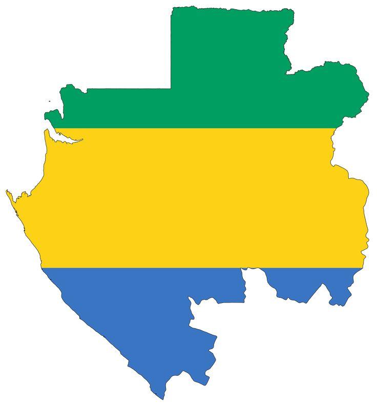 Gabon Flag Map large map