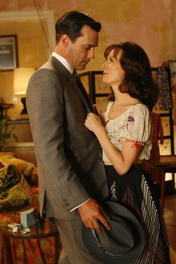 Don with Rosemarie DeWitt as Midge in Mad Men. They had an affair however she loved another