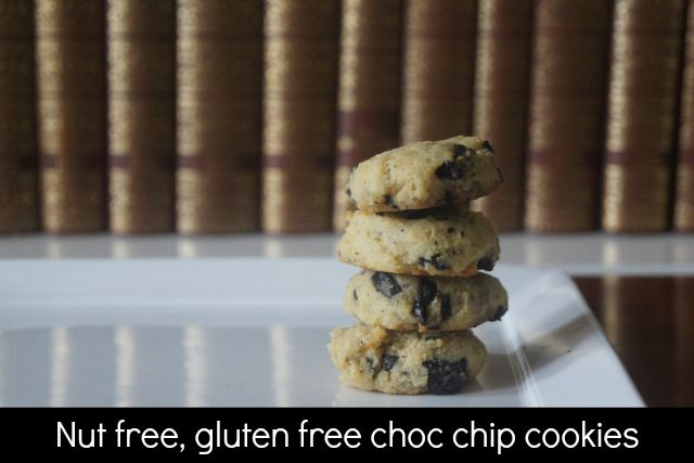 The choc chip cookies are easy to make and are both gluten and nut free. A tasty addition to the lunch box that kids can make themselves.