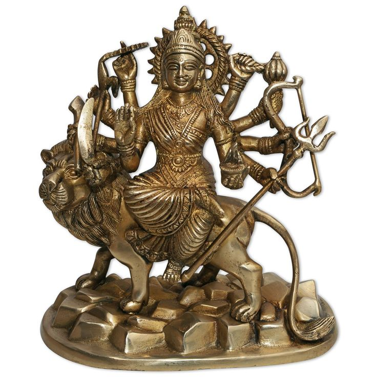 Maa Durga Brass Statue Handmade Hindu Goddess Riding on Lion Sculpture: Amazon.co.uk: Kitchen & Home