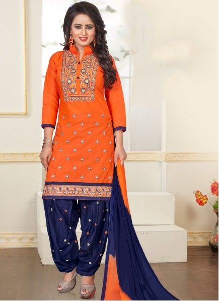 8aa6e215698 Surpassing Cotton Navy Blue and Orange Punjabi Suit in 2019