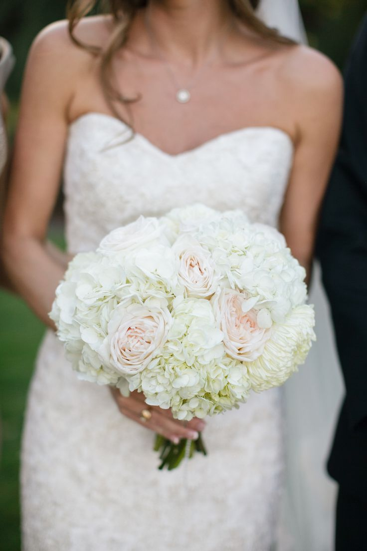 Blush Pink #Roses and #Hydrangeas are the prettiest!! See the wedding on http://www.StyleMePretty.com/massachusetts-weddings/plymouth/2014/01/15/plymouth-wedding-at-pinehills-pavilion/ Melissa Deschamp Photography