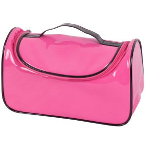 Pink Colour Patent Leather Cosmetic Bag