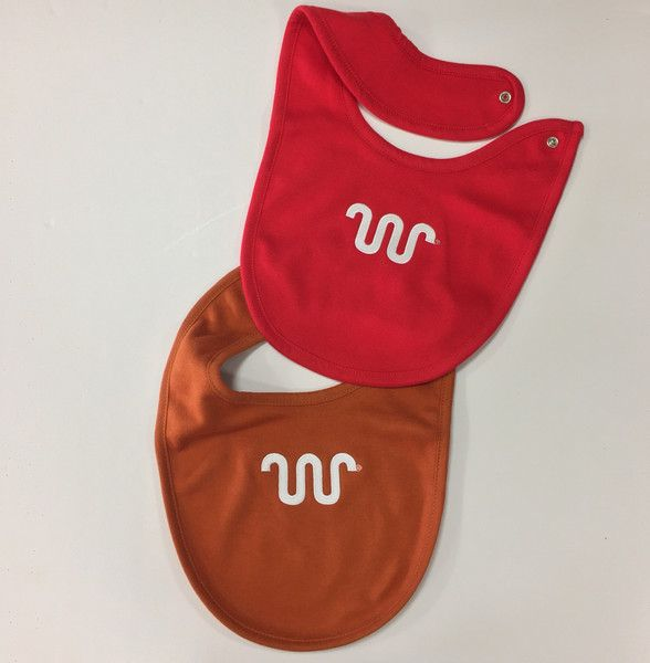 Solid colored baby bibs with white Running W® in red or orange. | King Ranch Saddle Shop