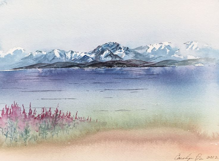 Alaska Landscape original watercolor painting Fine Art Home Decor Collectible weave Arches Watercolor paper art by CarolynDoeDesigns on Etsy