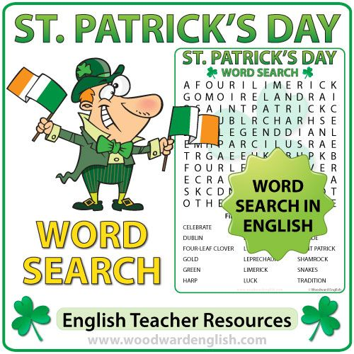 Word Search in English containing vocabulary about Saint Patrick's Day - ESL Teacher Resource