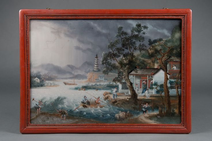 A Fine19th Century Chinese Reverse Glass Painting of a Landscape.   eBay