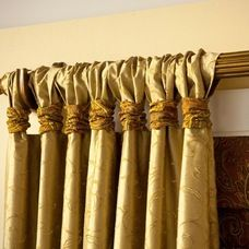 Drapery panels with wrapped tabs in deluxe fullness available DesignNashville
