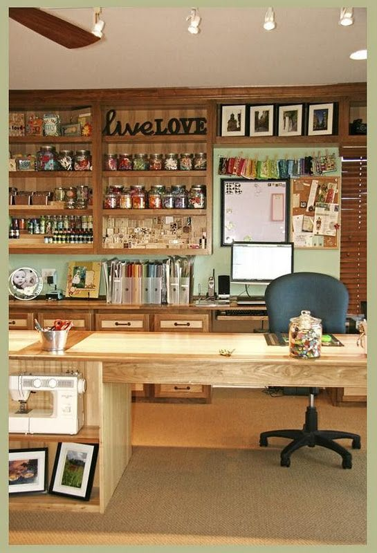 Craft room. When we move into a house with a basement, I think I will make half of it into my craft/art room. this is fabulous!