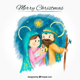 Fondo de acuarela con adorable nacimiento del niño jesús