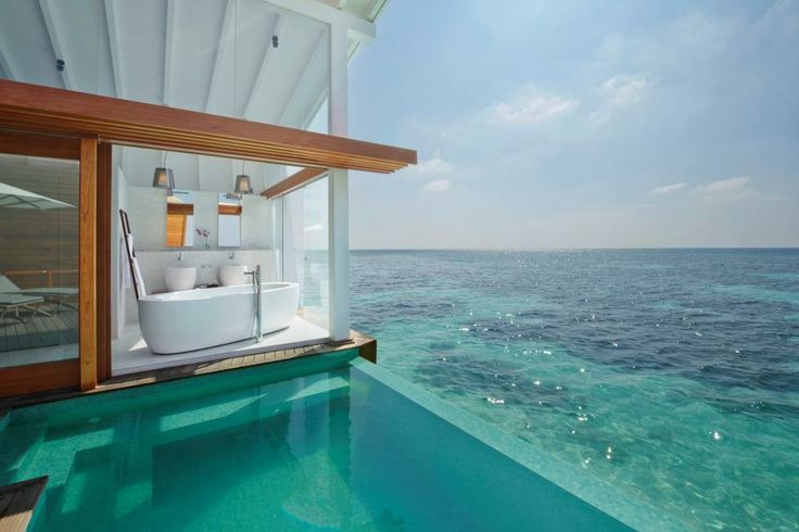 Laufen in the Maldives. Beautiful natural elements of the Maldives combine perfectly with modern architecture and creature-comforts creating an unforgettable experience for guests at Kandolhu Island #bathroom #luxury #maldives #kandolhu