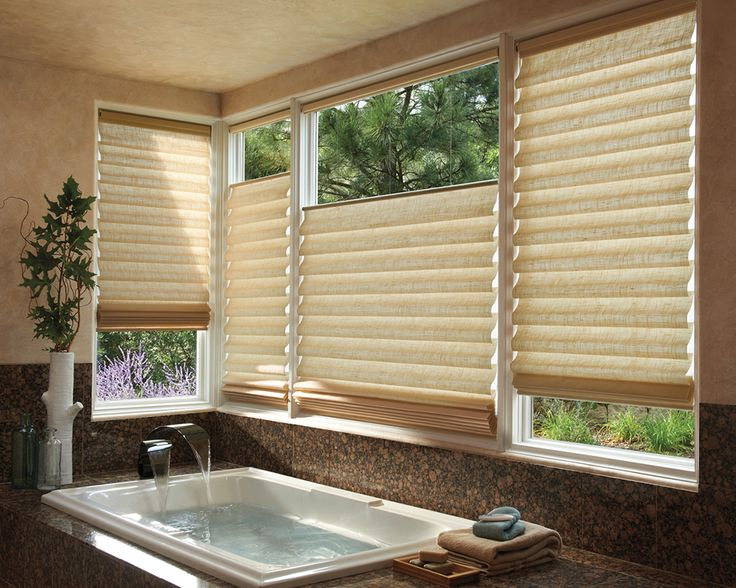 Inspire the perfect moment of relaxation with Vignette® Top/Down Bottom/Up Modern Roman Shades ♦ Hunter Douglas window treatments #Bathroom