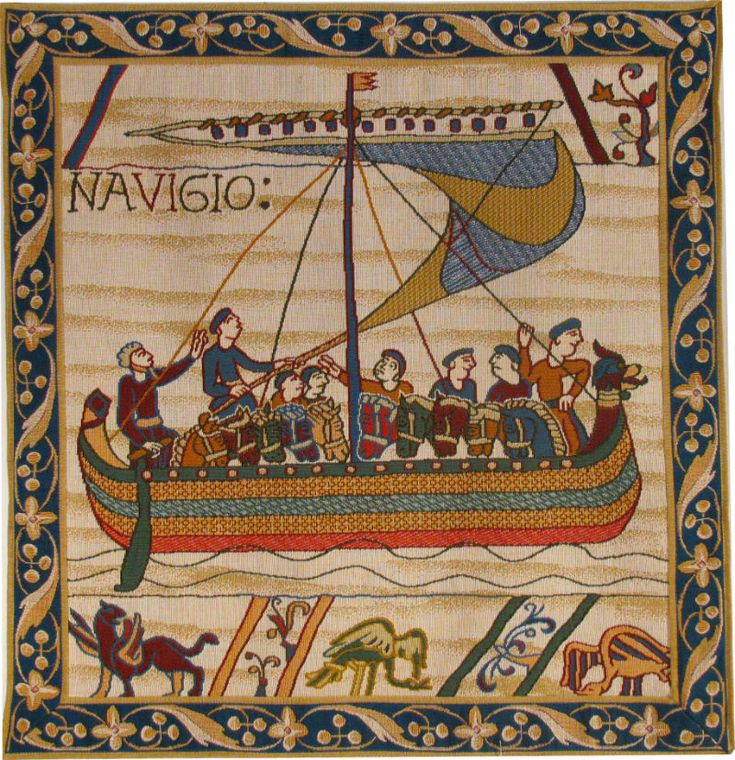 Duke William's ships sailing to their invasion of Saxon England. A French tapestry with or without the border.