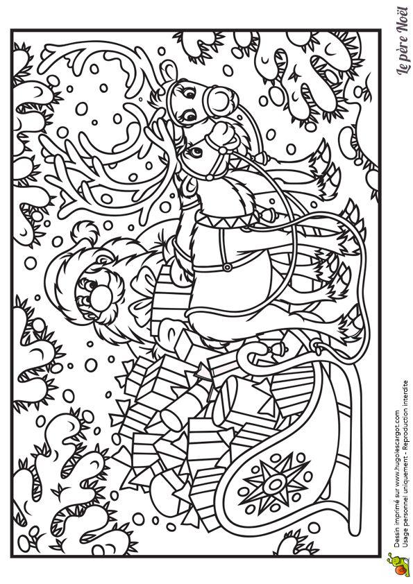Coloriages pere noel et son traineau sous la neige