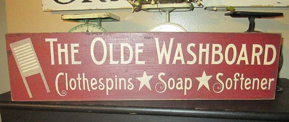 Primitive Wood Sign, The Olde Washboard, Laundry Room Sign