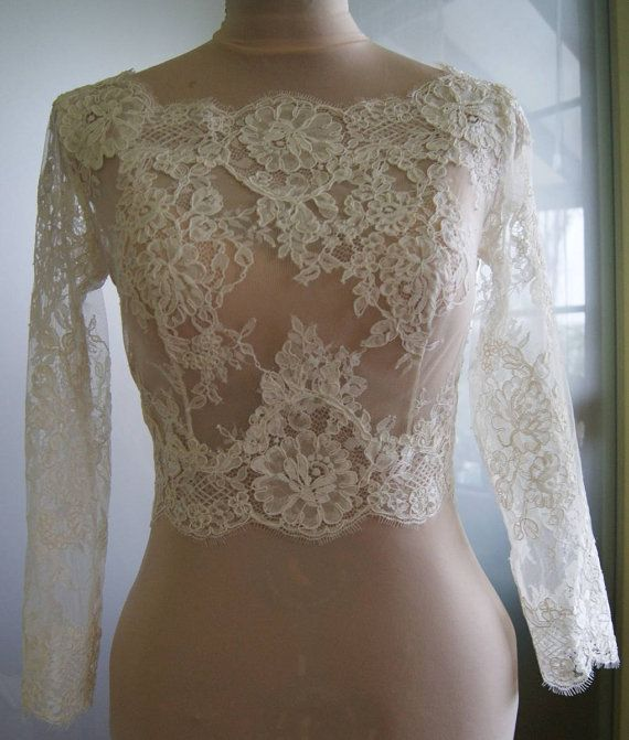 Unique,exclusive, beautiful wedding bolero. Romantic style. Bolero made with lace alencon . Full front, fastened-buttoned at the back. Sleeves- 46 cm--18